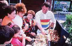 A barbecue party; Actual size=240 pixels wide